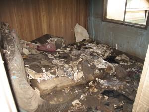 A flood damaged bedroom during the 2011 Australian floods