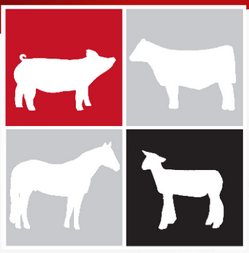 graphic with animal silhouettes: pig, cow, horse, sheep