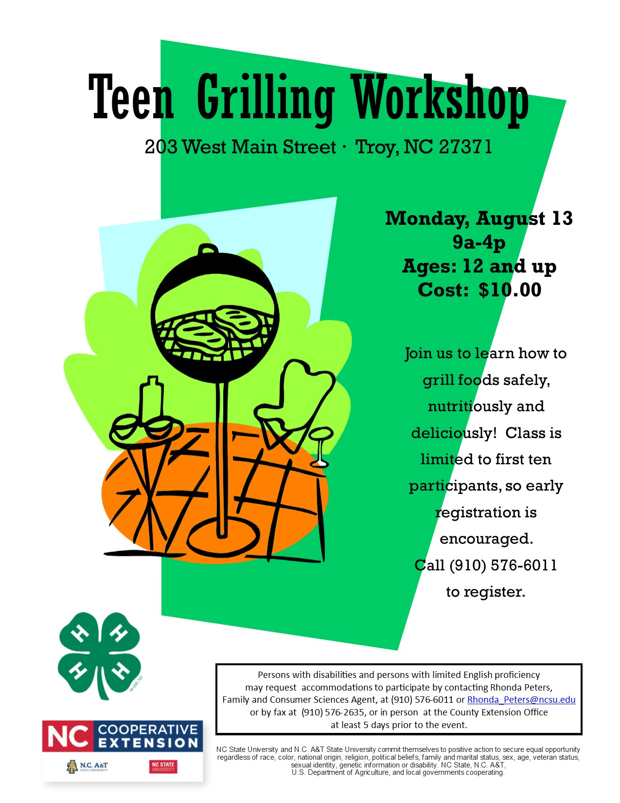 Teen Grilling Workshop flyer image