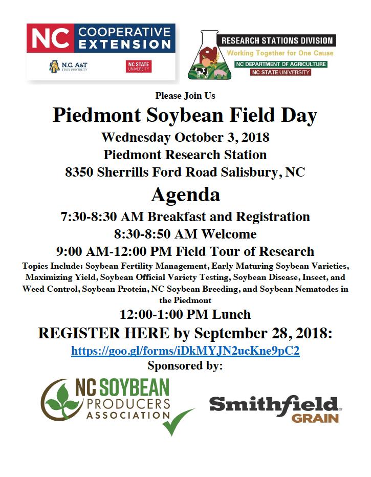 Piedmont Soybean Field Day flyer image