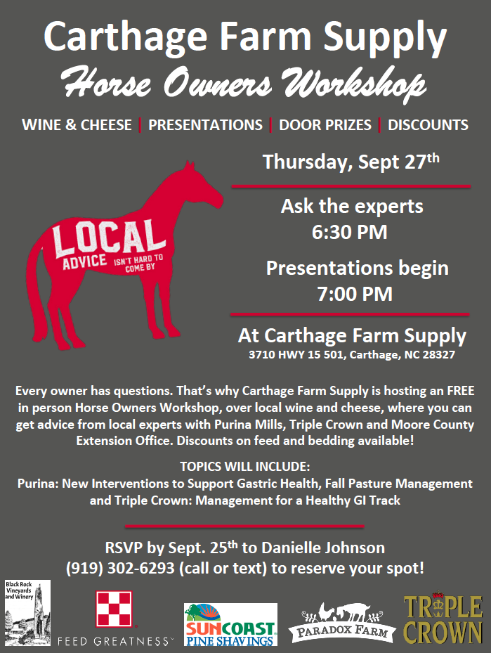 Carthage Farm Supply Horse Owners Workshop poster