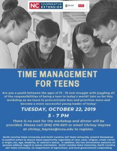 Cover photo for Time Management for Teens Workshop Coming Up