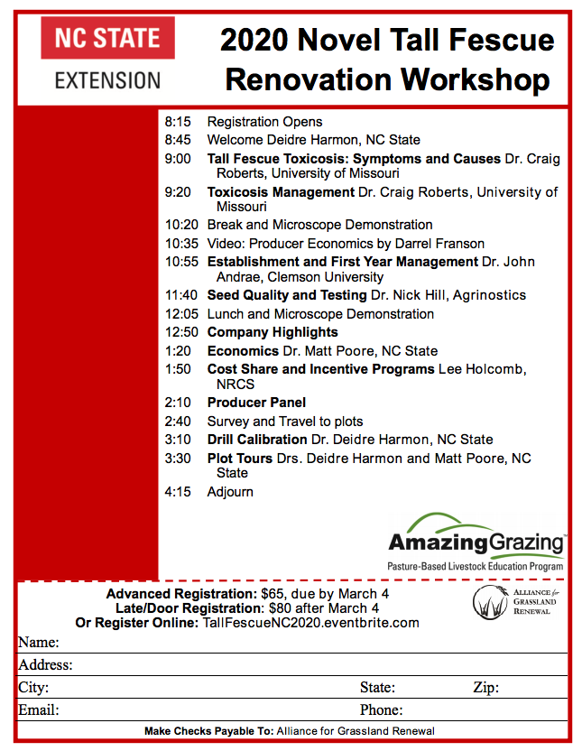 2020 Novel Tall Fescue Renovation Workshop flyer image