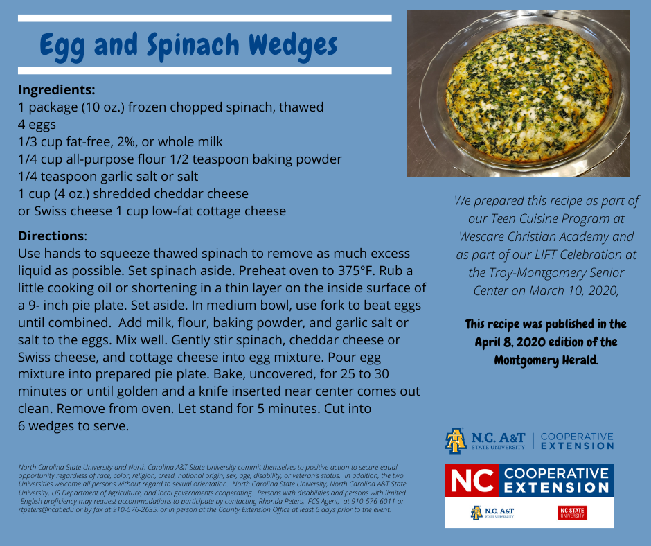 Egg and Spinach Wedges recipe