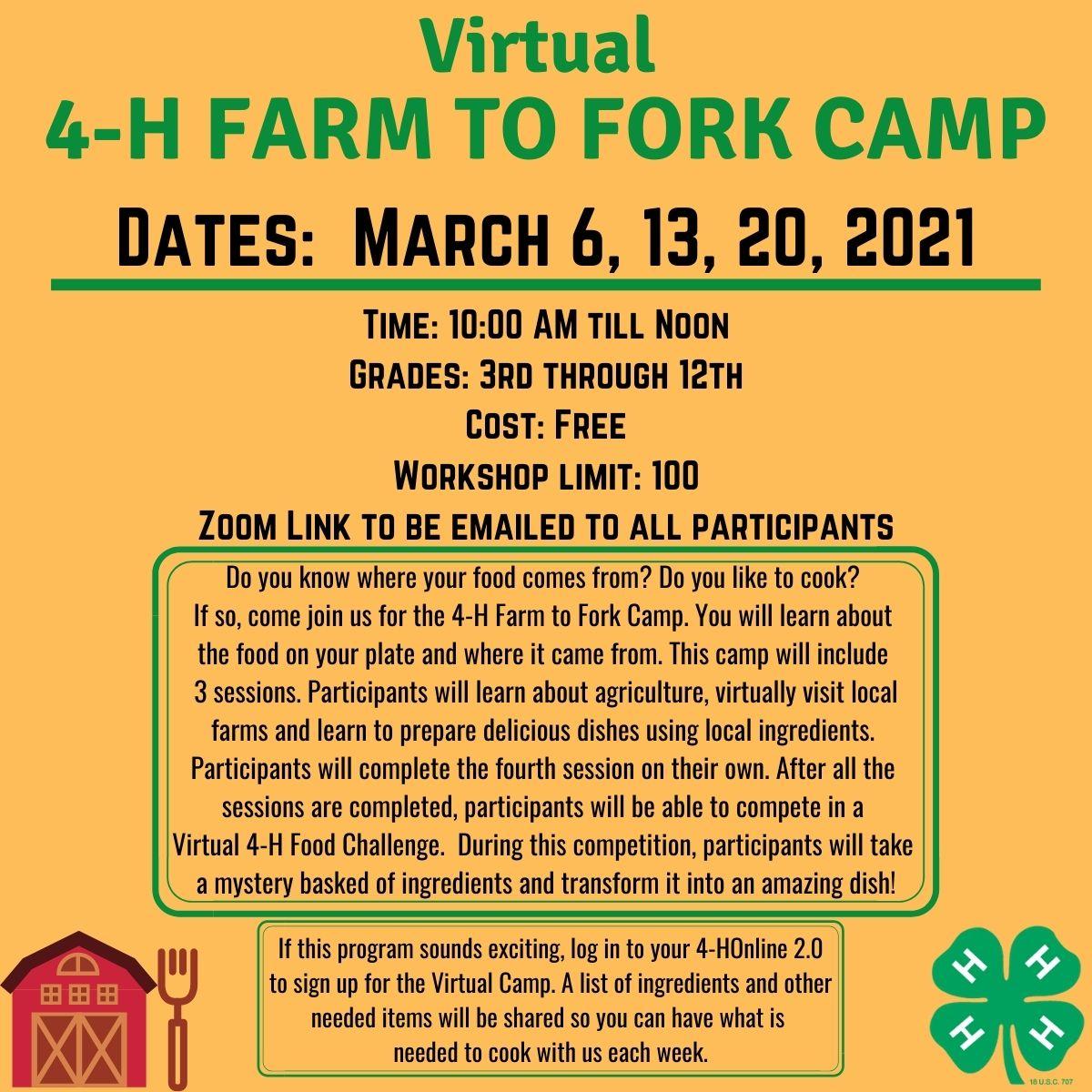 4-H Farm to Fork Camp flyer image