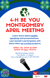 Cover photo for 4-H Be You Montgomery April Meeting