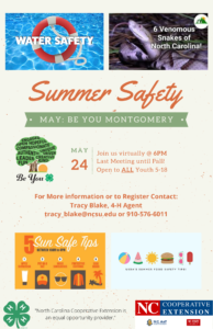 Cover photo for May 4-H Be You Montgomery Meeting: Summer Safety!