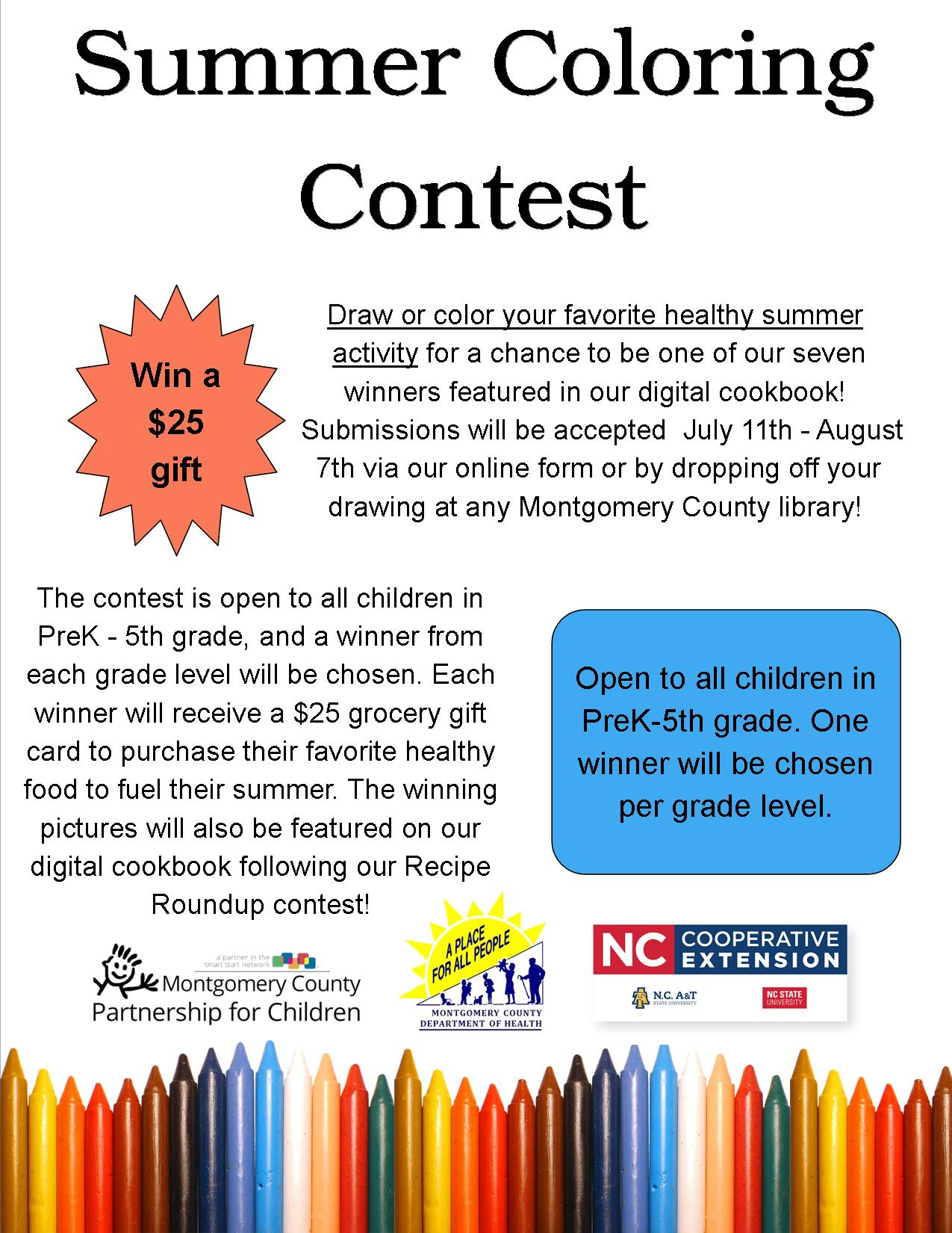 Summer Coloring Contest flyer