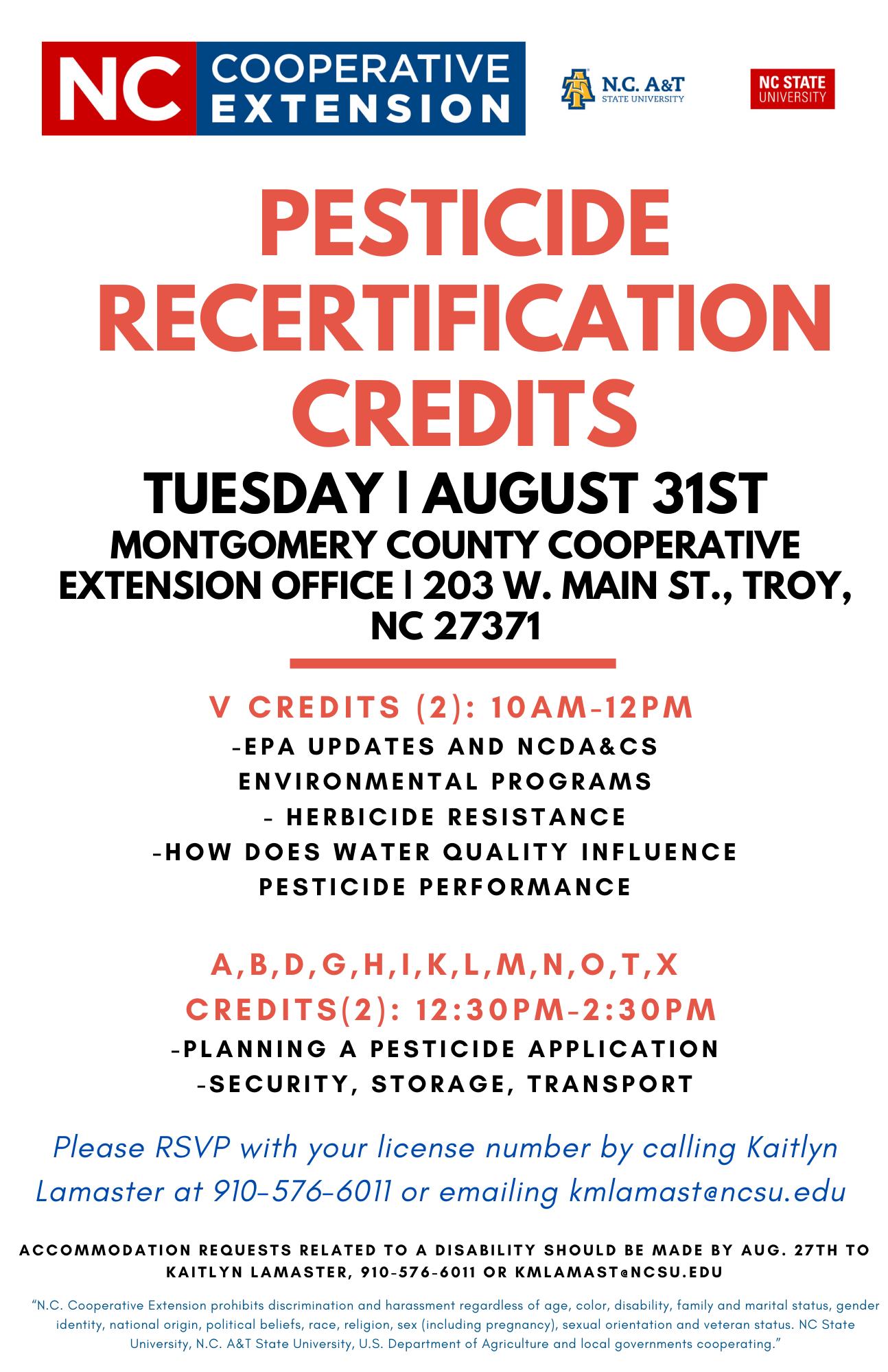 Pesticide Recertification Credits flyer