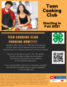 Cover photo for Interested in Being Part of a Teen Cooking Club?